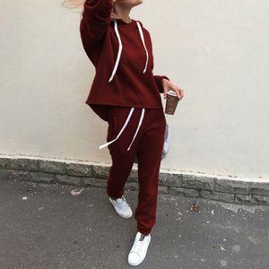 2pcs Women Hoodies Casual Tracksuit Suits Sweatshirt+sweatpants Set Warm Clothes Sweatsuit Female Soild Color Simple Style Y201128