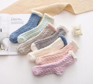 Wholesale Sports Socks Lady Winter Warm Fluffy Coral Velvet Thick Towel Socks Candy Adult Floor Sleep Fuzzy Socks Women Girl Stockings