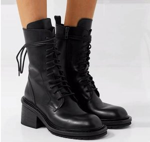 Fashion Leather Ankle Boots for Women Ladies Lace Up Shoes Woman Party Wedding Pumps Motorcycle 7.5CM Boot1
