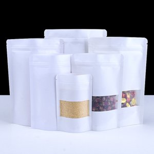 100Pcs White Stand Up Plastic Kraft Paper Zip Lock Reclosable Package Bags Window Food Tea Nuts Storage Bags