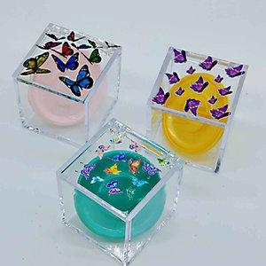 Square Transparent Eyelashes Boxs New Personality Printing Butterfly 25MM Eyelashes Packaging Box False Eye Lash Packaging Box GWE3606