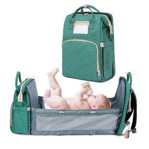 Multifunctional Diaper Bag Backpack Maternity Handbag Foldable Baby Bed Travel Portable Large Capacity Mummy Bags