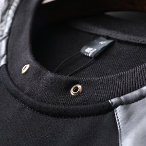 Langer Mens PU-Stil schwarz Mode / Studio / Bling Sweatshirts Ärmel T-shirt Freeship Patchwork Srfiw