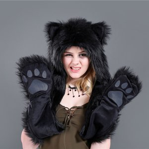 2020 Faux Fur Hat Gloves Winter Mittens 3 In 1 Function Hoodie with Paws Ears Wolf Plush Warm Earmuff Animal Scarf