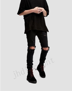 2020 European And American High Street Style With The Same Type Of Basic Ripped Pants With All Black Slim Stretch Leg Jeans Men L
