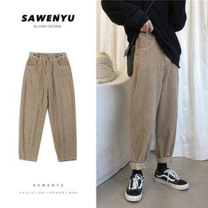 Corduroy Pants Men's Fashion Solid Color Retro Casual Straight Pants Men Streetwear Cotton Harem Pants Mens Trousers M-5XL X1116