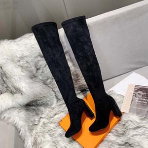2021 Venta Book Fashion Women Boots Botas de cuero genuino Botas de tacón alto Cartas Cabeza redonda Middle Boot para botines de vaquero Home011 01