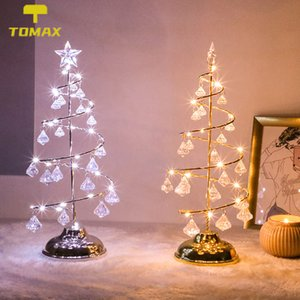 Led Christmas Light Crystal Christmas Tree Light Room Bedroom Christmas Decoration Table Lamp Girl Heart Copper Wire Night Light Y1125
