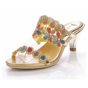 Платье Обувь 2021 Женщины Красочный Горный Хрусталь Med Med High Cluels Сандалии Гладиатор Женщина Римские Тапочки Хрустальные Цветы Женщина Лето