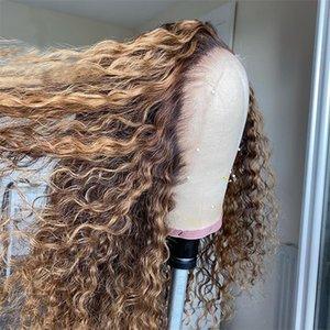 180% Yoğunluk 13x4 Kıvırcık Dantel Ön İnsan Saç Peruk Pre-Pllucked Remy Dantel Ön Peruk Kadınlar Için Karışım Renkler Ağartılmış Knot