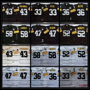 Vintage Erkek Siyah 33 Merril Hoge 36 Jerome Bettis 43 Troy Polamalu 47 Mel Blount 52 Mike Webster 58 Jack Lambert Futbol Jersey AC1
