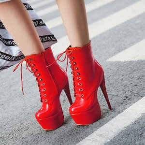 Sgesvier 2020 Winter Boots Women Sexy 16cm High Heels Platform Ankle Boots For Women Pu Leather Red White Fetish Shoes Woman