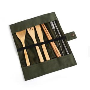 Деревянная посуда набор бамбука чайная ложка вилков суп нож для кейтерирования столовые приборы набор с тканью сумка кухонные готовить инструменты посуды YHM209