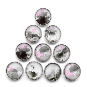 10pcs lot 18mm Elegant Lotus Buttons Glass Charm Snap Button Jewelry For 18mm Snaps Bracelet Snap Jewel jllSjk