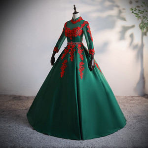100%real green long sleeve ball gown queen gown medieval dress Renaissance gown royal Victorian dress princess cosplay Ball