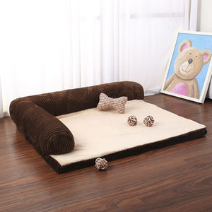 Luxury Large Dog Bed Sofa Dog Cat Pet Cushion Mat For Big Dogs L Shaped Chaise Lounge Sofa Pet Beds 201125