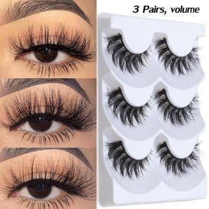 3Pairs 3D Faux Mink False Eyelashes Fluffy Wispies Natural Volume Long Lashes Extension Soft Handmade Eyelashes Makeup Tools