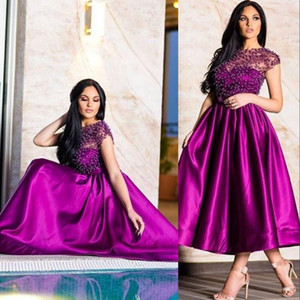 2021 New Vintage Purple Mother Of The Bride Dresses Short Crystal Beading Satin Cap Sleeves Tea Length Plus Size Evening Wear Prom Gowns
