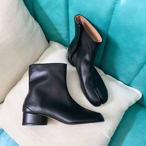 Hot Sale- Leather Sock Booties Tabi Cleft Heel Fashion Women Ankle Shoes Trotters Shoes Grandma shoes Tabi sock boots