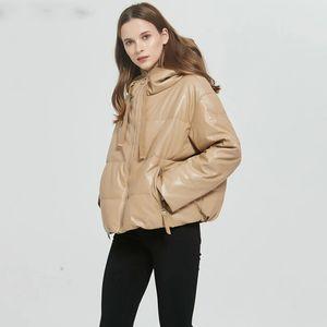 Mozuleva Women Thick Warm PU Faux Leather Padded Coat 2021 Winter Zipper Hooded Jacket Parka Long Sleeve Pockets Outerwear Tops