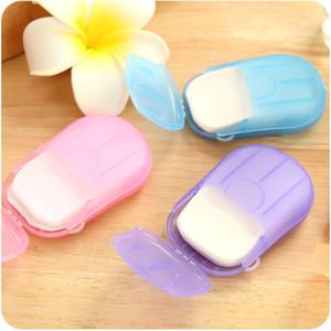 20PCS box Portable Mini Travel Soap Paper Washing Hand Bath Clean Scented Slice Sheets Disposable Box Soap Disinfectant Soap Paper DHE3352