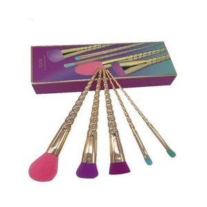 Hot Tarte Full Set Of Makeup Brushes Gold Coloful Makeup Brush BB Cream Blusher Powder Brush 5pcs   set