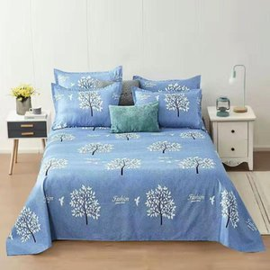 Blue Color Bedding Sheet 3 Pcs King Size Bed Sheet Set For Queen Bed Sheets Letter Printed Flat With case