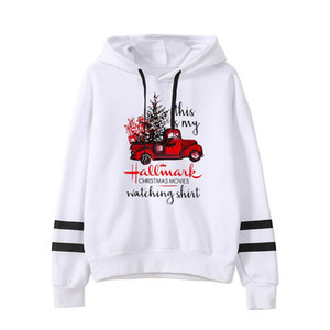 Ladies Hoodie Autumn Winter Letter Christmas Polyester Fun Truck Pullover White Long Sleeve Round Neck Hooded Casual Hoodie