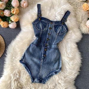 Gagarich High Waist Hip Slim Jumpsuits Women Sexy Sleeveless Off Shoulder Camis Bodysuit Summer 2020 New Denim Playsuit Summer