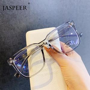 Quadro JASPEER Anti Light Blue Mulheres Homens Eyewear Praça UV400 Anti Fadiga ocular olho de vidro das senhoras Transparent Optical miopia Frames