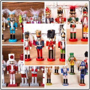 10sets Handcraft Puppet Wooden Christmas nutcracker soldier Doll Gift Figures home office Party Ornament Xmas Tree Decoration