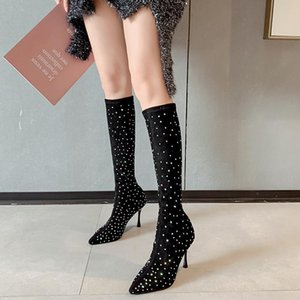 Fashion Women Knee High Boots Sock Booties Pointed Toe Thin High Heels Slip On Sexy Boots Dress Party Rhinestone Autumn