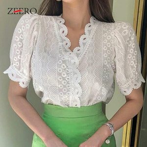 Korean Summer 2021 Sleeve V Neck Patchwork Women Lace Shirts Female Casual Vintage Blouse Blusas Mujer Crop White Top