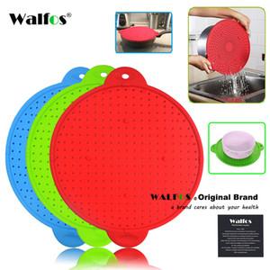 WALFOS 3 in 1 Splatter Screen Splatter Guard Kitchen Strainer Trivet Pot Lid Pan Cover Silicone Lid Spill Stopper Wash Strainer 201120