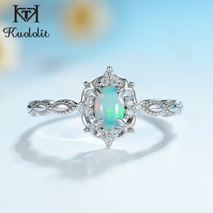 Kuololit Natural Opal Gemstone Rings for Women 925 Sterling Silver Fire Stone Size 10 Ring Wedding Engagement Gift Fine Jewelry Z1121