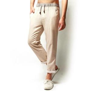 2019 homens de verão linho cordão de cânhamo algodão calça casual respirável flax lareira homens calças