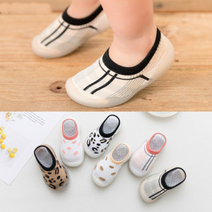 Leopard Soft Bottom Non-Slip Floor Socks Solid Color Toddler Girl Boy Shoes with Transparent Rubber Soles Kid Baby