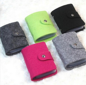 20pcs 24 Position Felt Business Credit ID Card Holder Bags Leather Strap Buckle Bank Solid Color Holder