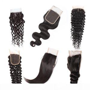 8A Cierre de pelo humano brasileño barato 4 * 4 Waterwave Hair peruano cuerpo profundo onda suelta onda recta libre parte de encaje suizo cierre envío gratis