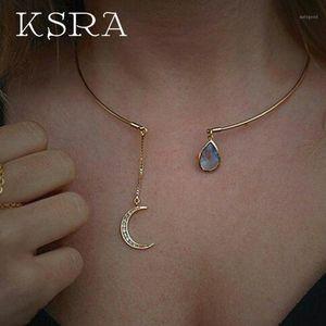 KSRA Fashion Simple Open Necklace para Mujeres Mujer Boho Moon Agua Drop Gargantilla Collar Joyería 2020 New1