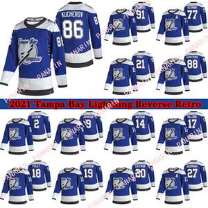 Tampa Bay Lightning 2020-21 Reverse Retro Jersey 91 Steven Stamkos 86 Nikita Kucherov 77 Victor Hedman 21 Point 71 Cirelli Hockey Jerseys