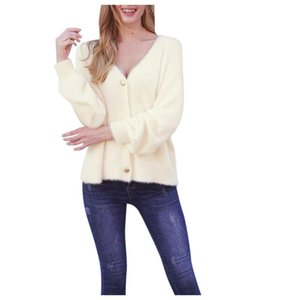 SAGACE Ladies fashion V-neck solid color button loose knit sweater, matching sweater, keep warm, fashionable and casual