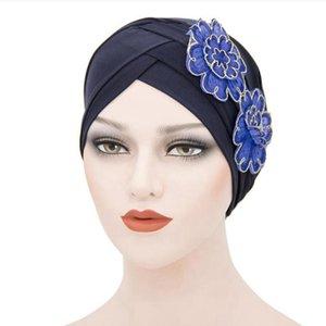 Arab Muslim beanie cap forehead cross flower hat women turban headwrap female hair bonnets TB-74