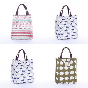Hedgehog Whale Pattern Canvas Bags Cartoon Lunch Bento Thermal Insulation Portable Bag New Pattern Versatile 5 2qf J2