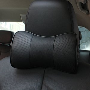 1 pair Car Neck Pillow Genuine Leather Pillows For Mercedes-Benz A B C E class with Logo Badge Seat Head rest car styling