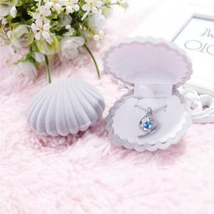 Popular mar shell forma joyería caja de regalo moda linda joyería caja pendientes anillo colgante collar cajas caja de almacenamiento kkf3812
