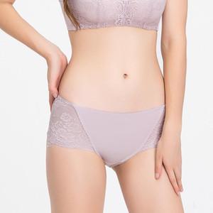 Thailand Natural Latex Silk Underwear Ladies Seamless Abdomen and Hips Mid-waist Mulberry Silk Boxer Bielizna Damska Lingerie