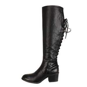 Hot Sale-Women's Winter Shoes Lace-Up Square Heel Boots Plus Big Size High Quality Round Toe Retro Women Shoes Middle Tube Boots