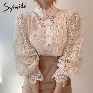 Syiwidii Long Sleeve Blouse Womens Tops Shirts Lace 2020 Fall Korean Fashion White Hollow Out Office Lady Floral Turtleneck New