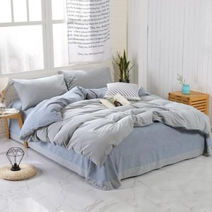 Shabby Chic Grey Duvet Cover Bedsheet set Washed Cotton Soft Queen King Size Bedding Set (1 Duvet Cover+1Sheet+2 Pillow Shams)